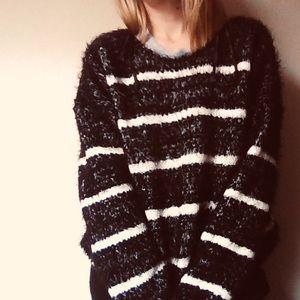 CK Calvin Klein Striped Knit Fuzzy Crew Sweater
